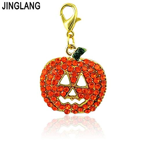 Charms - Fashion Charms with Lobster Clasp Orange Rhinestone Pumpkin Mask DIY Halloween & Christmas Decoration Gift Jewelry - by Mct12-1 PCs ()