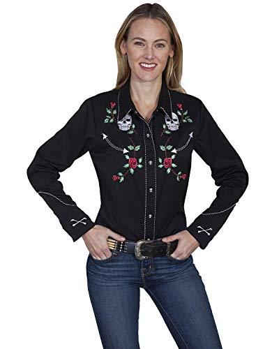 (Scully Women's Skulls and Roses Long Sleeve Shirt Black Medium)