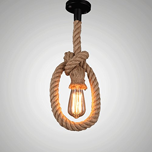 3 Countryside Light Chandelier - IBalody American Countryside Hemp Rope E27 Ceiling Pendant Lights Retro Industrial Single Head Chandelier Living Room Office Bar Cafe Restaurant Decoration Droplights (Size : 3m)