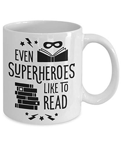 Funny Coffee Mug Even Super Heroes Like To Read Novelty Tea Cup Gift Teachers Readers Book Worms Mug With Sayings Tutors ()
