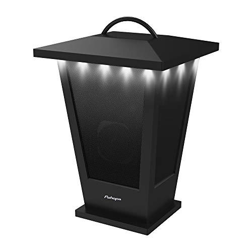 Bluetooth Speaker Waterproof – Pohopa Indoor Outdoor Wireless Speaker with Lights, 10W Surround Bass, 20 Piece LED Strip Lights Around, Lantern Design (Piano Black)