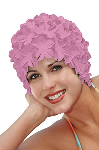 SYNC Original Swimwear Petal Swim Caps I Vintage Retro Flower Bathing Cap Pink