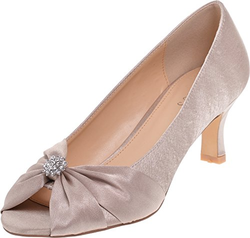 Ladies Lexus Medium Heel Comfort Fitting Shoe with Diamantes and Ruching Taupe (Beige) HS7Zw5