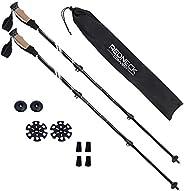 RC Trekking Poles for Hiking Black Walking Sticks, Lightweight Pair Trek Poles Collapsible Backpacking Trekker