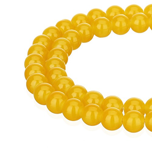 (RUBYCA 1 Strand 8MM Jade Imitation Round Painted Coated Glass Beads for DIY Jewelry Making Yellow)