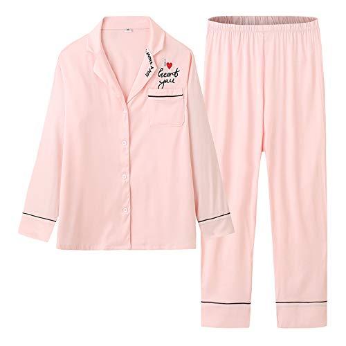 Mujer Fino Ropa Solapa Primavera Dulce Otoño Pijamas Servicio Y Manga Cardigan Mmllse Domicilio Larga Pink De A Satén OnPv8Fx4