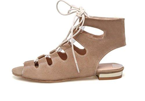 SHFANG Sandalias de las señoras Summer Strap Roman Sandals Dew Toe tubo corto 34-43 Compras Parte tres colores 3 cm Khaki