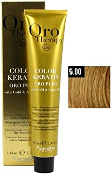 Fanola Crema colorante sin amoniaco Oro Therapy 24K KERATIN Color 9.00 Rubio clarísimo natural intenso 100 mL - Color permanente tinte
