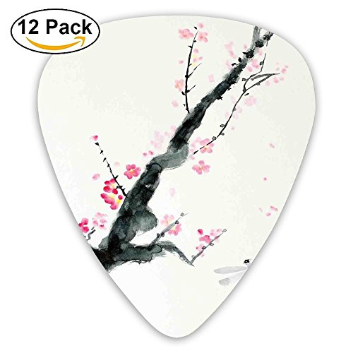Newfood Ss Branch Of A Pink Cherry Blossom Sakura Tree Bud And A Dragonfly Dramatic Artisan Guitar Picks 12/Pack Set ()
