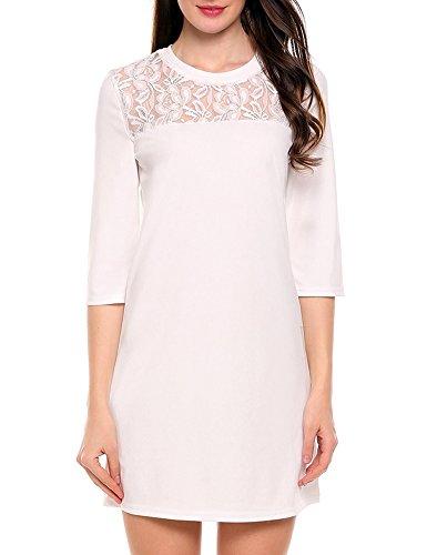ACEVOG Women'sCasual Sexy Round Neck Sheer Lace Yoke Shift Dress White ()
