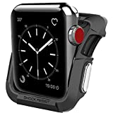 SporTop Compatible with Apple Watch Case 42mm, SporTop Shock Proof Bumper Cover Scratch Resistant Protective Rugged Case Replacement for Apple Series 3/2/1 42mm, Nike (Black+Silver, 42MM)