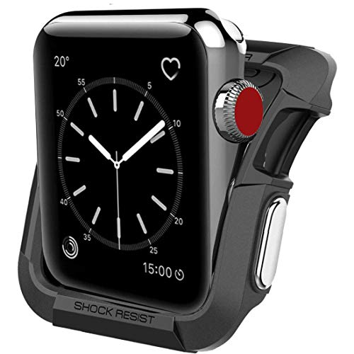 sportop Compatible with Apple Watch Case 42mm, Shock Proof Bumper Cover Scratch Resistant Protective Rugged Case Replacement for Apple Series 3/2/1 42mm, Nike (Black + silver-42mm)
