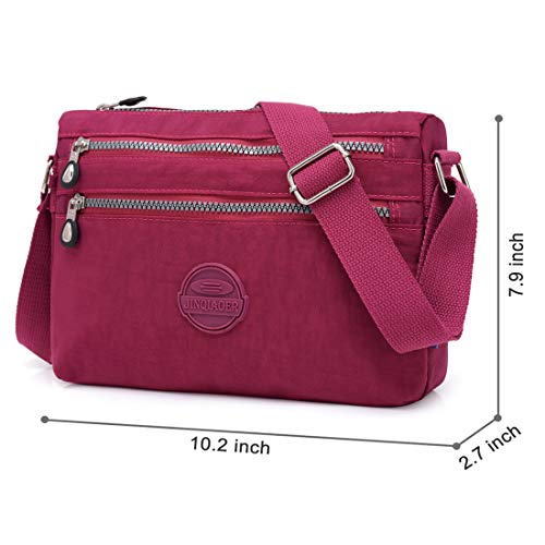Purse Pocket Hobo Bags Shoulder Wine Women Bag STUOYE Red by Multi Travel Crossbody Nylon bag for wYqfAAa