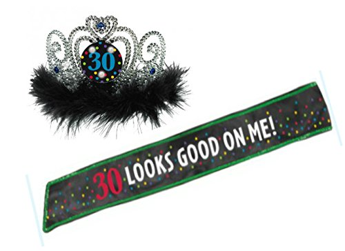 30th Birthday Tiara and Sash - Flashing Lights Silver Crown & Black Sequin Lined Sash 30 Looks Good On Me by Live It Up! Party SuppliesTM