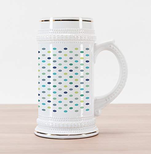 Retro Stein Ceramic - Ambesonne Polkadot Beer Stein Mug, Polka Dots Retro Classy Vintage Fabric Pattern Design Style, Traditional Style Decorative Printed Ceramic Large Beer Mug Stein, Apple Green Dark Blue Jade Green