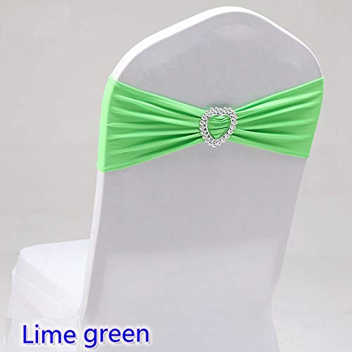 Custom Chair Sashes - Jiaju-art 20 Colours Spandex Sash Wedding Lycra Chair Band Stretch for Chair Covers Decoration Party Dinner Banquet Chair Sash Lime Green