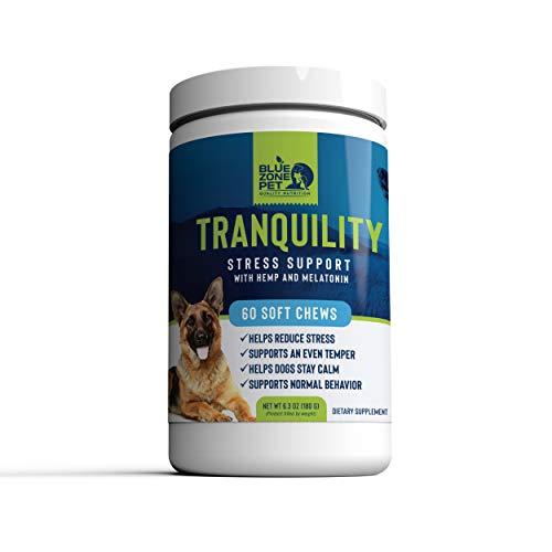 (Blue Zone Pet - Tranquility Calming Aid for Dogs - Hemp, Melatonin, Chamomile, Passion Flower - Composure, Anxiety, and Stress Support for Travel, Fireworks, Separation or Storms - 60 Soft Chew Treats)