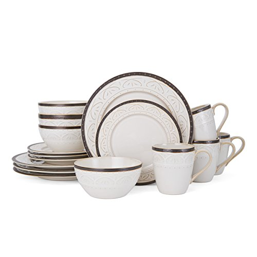 Pfaltzgraff 5217017 Promenade Scroll Dinnerware Set, White