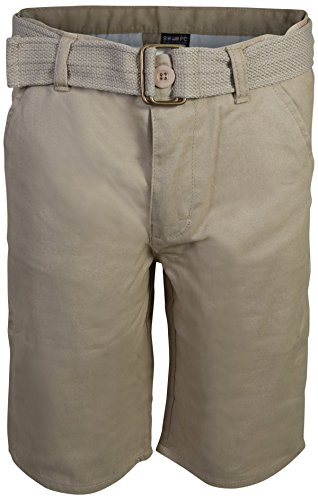 Beverly Hills Polo Club Boys School Uniform Belted Shorts, Khaki Size 10' - Boys Carpenter Shorts