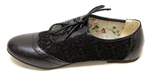 Top Moda Allen-2 Donna Vintage Classico Casual Piatto Punta A Mandorla Paisley Vamp Pizzo Su Sottopiede Floreale Pu Oxford Nero