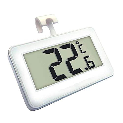 Digital Prom Bracket - Thermometer Indoor Outdoor Digital Refrigerator Freezer Room Thermometer Easy to Operate and Easy to Read Numbers with Magnetic backing, brackets and hooks for Home Living Room Office, white
