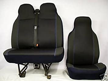 FABRIC BLACK 07 ON GREY VAN SEAT COVERS SINGLE /& DOUBLE 2+1 PEUGEOT EXPERT