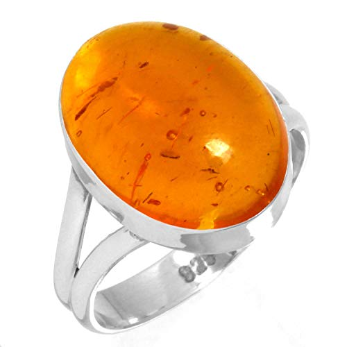 925 Sterling Silver Ring Amber Handmade Jewelry Size 5