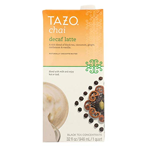 Decaf Chai Latte - Tazo Decaffeinated Chai Tea, 32-ounce Cans (Case of 6)