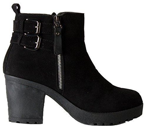 HEEL WOMENS ANKLE CHELSEA BOOTIES SIZE WINTER MID HIGH BLOCK 8 3 Style Black PLATFORM HEELED LADIES 13 BOOTS rqIRBwnr