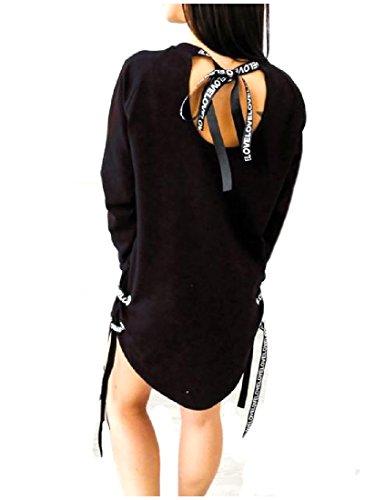 Coolred-femmes Taille Plus Longue Bandage Manches Créatif Mini Noir Robe Casual