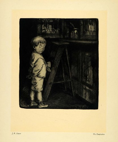 1911 Print Temptation Child Jam Ladder Boy Art J R Shaver Jar Kitchen Cupboard - Original Halftone Print (Jam Cupboard Antique)