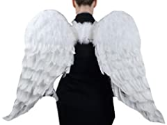 "Feather Angel Wings 43 x 27"" (109.2 x 68.6 cm) White with Elastic Straps and halo included, 1 piece."