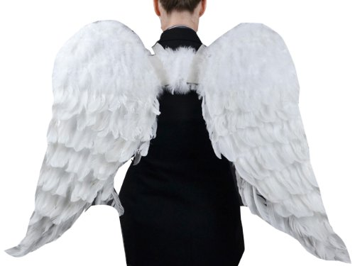 Touch of Nature 11008 Adult Angel Wing in White with Elastic Straps, 43 by 27-Inch (Angel Halo Costume)