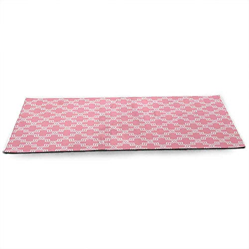 (WinfreyDecor Quatrefoil Fitness Yoga Mat Old Architectural Mosaic Pattern White Ornate Curves Entwined on Pink Backdrop at Home or Outdoors Anywhere W24 x L70 Pink White)
