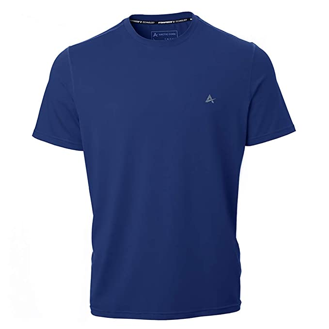 75922eea7 Amazon.com: Arctic Cool Men's Crew Neck Instant Cooling Short Sleeve Shirt  Performance Tech Breathable UPF 50+ Sun Protection Moisture Wicking  Comfortable ...
