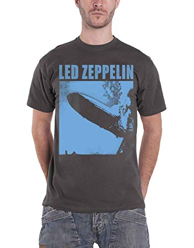 Led Zeppelin T Shirt Zepp 1 Album Blue Cover Band Logo Official Mens Charcoal Size M
