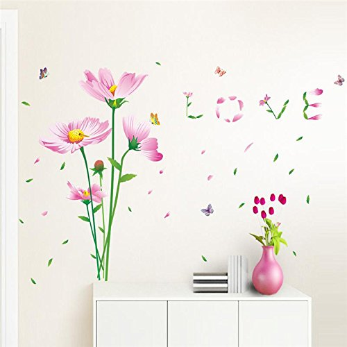 FairyTeller Beautiful Daisy Flowers Love Wall Decals Home Decorative Stickers Wedding Party Living Bedroom Mural Art 3D Post Wallpaper 060.