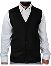 Solid Color Cardigan Sweater Vest