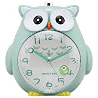 Owl Clock Wake Up!Non Ticking Alarm Clock Bedside, Bedroom Snooze Function Silence Clock with Dim Yellow Night Light and Loud Alarm, Green Clock for Kids, Carbon Battery Operated