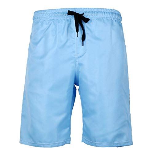 PENGY Beach Short Pants Plus Size Men's Summer Swim Trunk Solid Color Casual Athletic Large Size Sky Blue ()