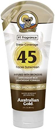 Australian Gold Premium Coverage Facial Sunscreen Lotion, Infused with Bronzers, Broad Spectrum, Water Resistant, SPF 45, 3 Ounce
