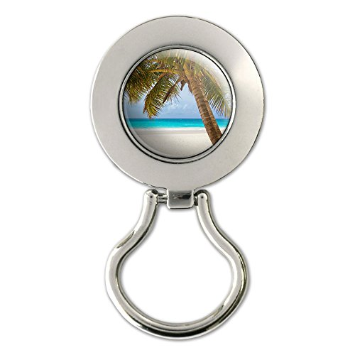 Tropical Palm Tree Ocean Beach Magnetic Metal Eyeglass Badge Holder