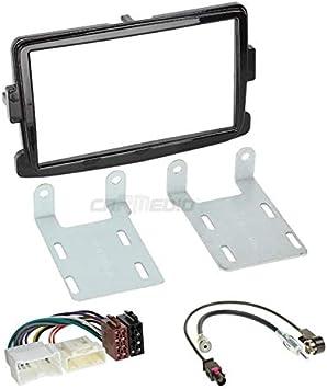 Fa/çade dautoradio + Adaptateur + Adaptateur dantenne C/âble Noir Water Mark Kit de montage encastr/é pour autoradio pour BMW X3/E83/
