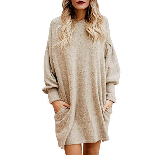 Les femmes de mode Solid O-cou poche longue chandail