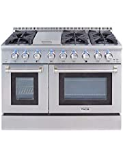 """Thor Kitchen HRG4808U Gas Range with 6 High-Powered Burners & Double Oven, 48"""" W"""