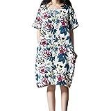 WEISUN Women Cotton Linen Dress Summer Casual Short Sleeve Dresses O-Neck Plus Size Print Dress with Pockets White