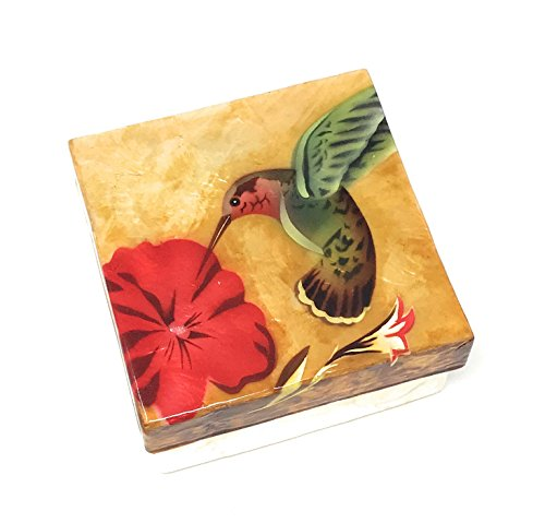 Kubla Craft Hummingbird and Hibiscus Capiz Shell Keepsake Box, 4 Inches Square