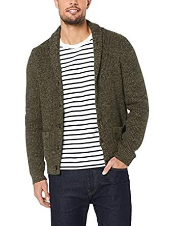 French Connection Men's Olive Shawl Neck Cardigan, Olive Marl, Small