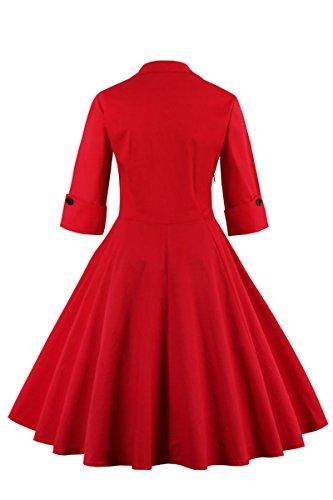 Delle Donne Stile Il Mezze Taglia Maniche Rosso Vestito 02 Yming 1950 Più Vintage Altalena rr6dwa