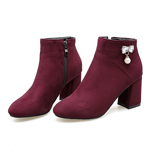 AN A&N Womens Boots Closed-Toe Zip Kitten-Heel Warm Lining Not_Water_Resistant Artificial Ground Outdoor Pointed-Toe Urethane Boots DKU01966 Claret 1v75Q